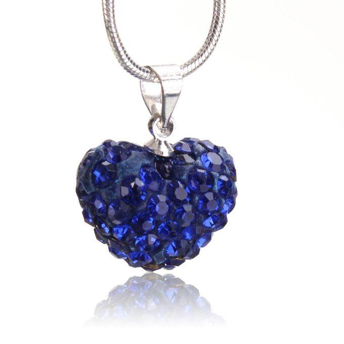 f003baa4b Fashion Women Crystal Pendant Jewelry Heart 925 Sterling Silver Necklace+Chain  Dark Blue