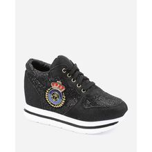 Patches Sequins Sneakers - Black