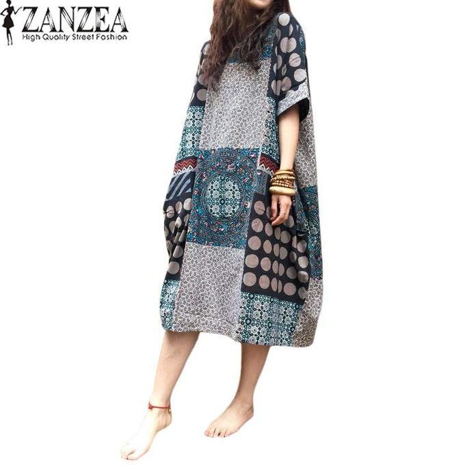 ea7d82befd15 ZANZEA Summer Casual Loose Cotton Linen Oversize Floral Print Midi Dress  Women Vintage Short Sleeve Vestidos