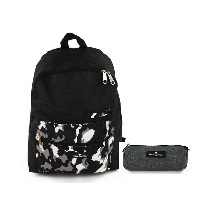 Faber Castell Bundle of School Backpack & Pencil Case - Black & Grey Camouflage