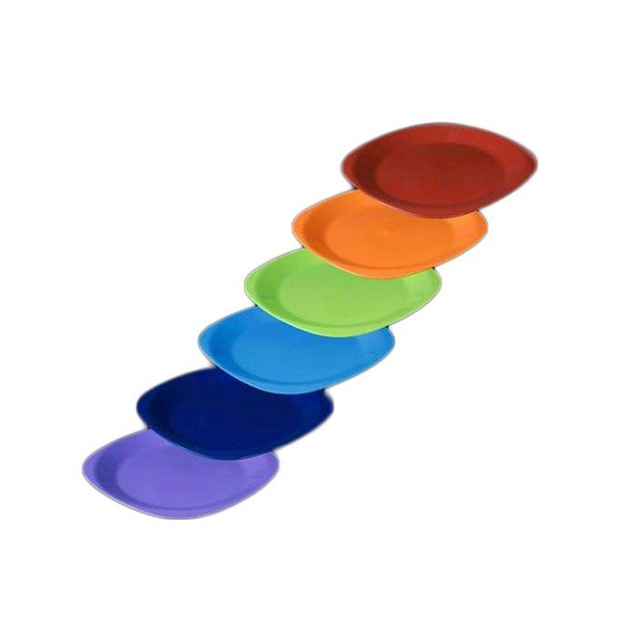 طقم طبق عشاء مسطح وسط الراينبو – 6 قطع – احمر-برتقالي-بستاج-ازرق لبني-كحلي-موف فاتح –  مصر