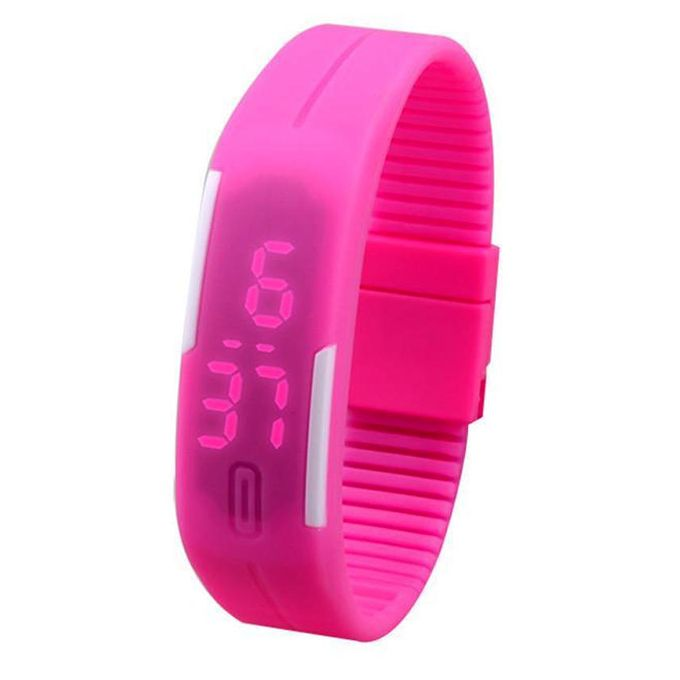 Quartz BLS-PIN LED Rubber Watch - Pink