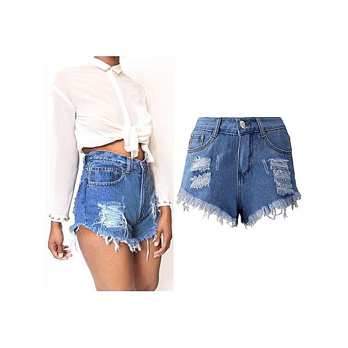 fashion cotton denim plus size miracle tassel high waist shorts