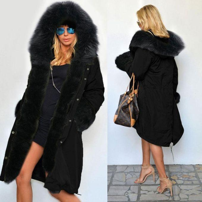 e2be3ddee57dd ... Stylish Ladies Women Lady Hooded Winter Warm Thick Faux Fur Coat Parka  Long Outerwear Overcoat Jacket