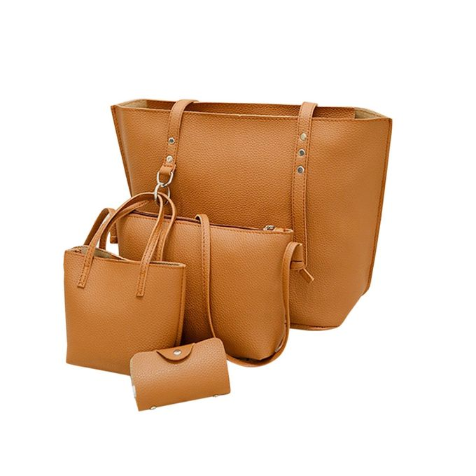 9cd2a0ec8bdd 4Pcs Women Pattern Leather Shoulder Bag+Crossbody Bag+Handbag+Wallet  Brown-Brown
