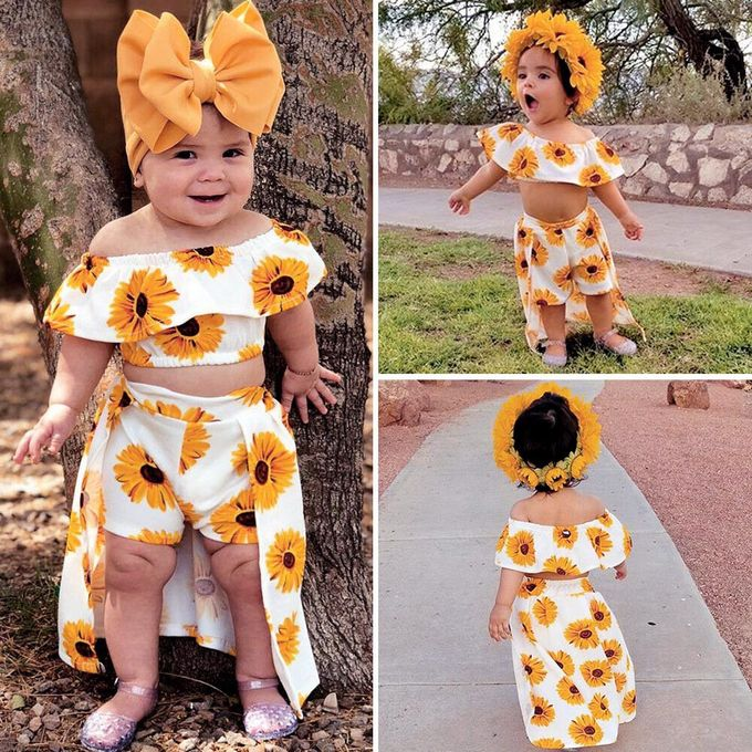3b43f1670926 Tectores Toddler Baby Girls Off Shoulder Sunflower Print Tops+Skirt  Pantskirt Outfits Set Hot Sale