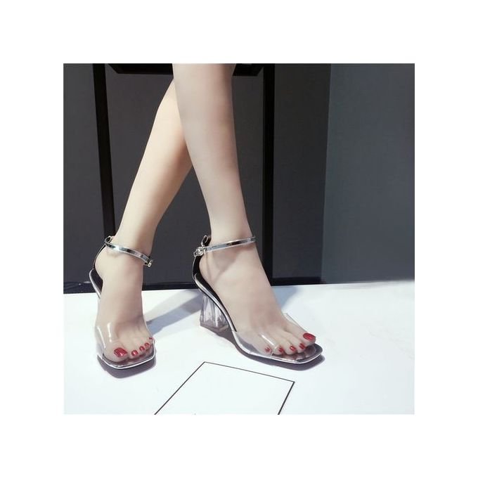 3b3b4251a28 ... LightningFashion Women Transparent Sandals Ankle High Heels Block Party  Open Toe Shoes -Silver ...
