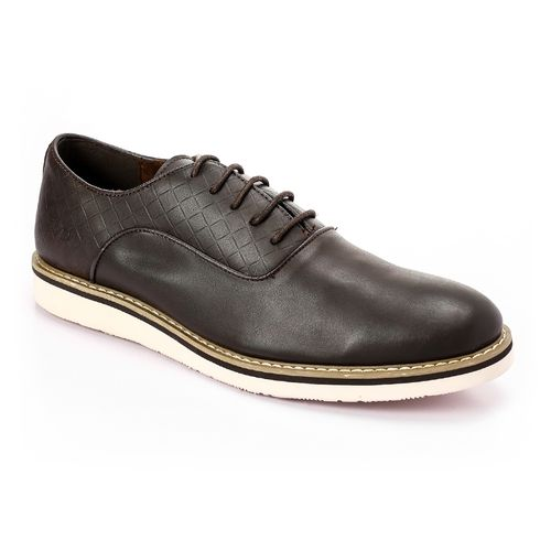 Textured Classic Leather Shoes - Deep Brown