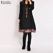 247e480a10d22 ZANZEA Spring Women Cotton Linen Dress Autumn Vintage Hem Print Dress Casual  O Neck Long Sleeve