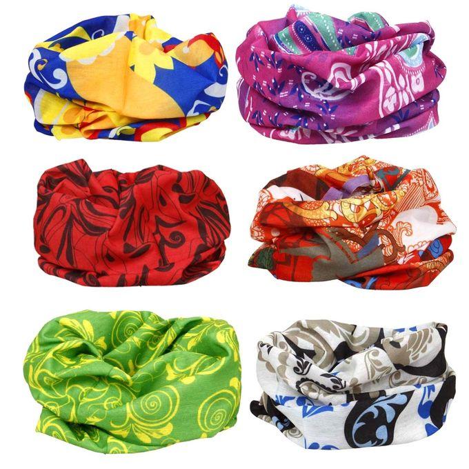 BMC 6pc Mixed Designs Seamless Bandanna Headwear Scarf Wrap Sets [Art of Abstract]