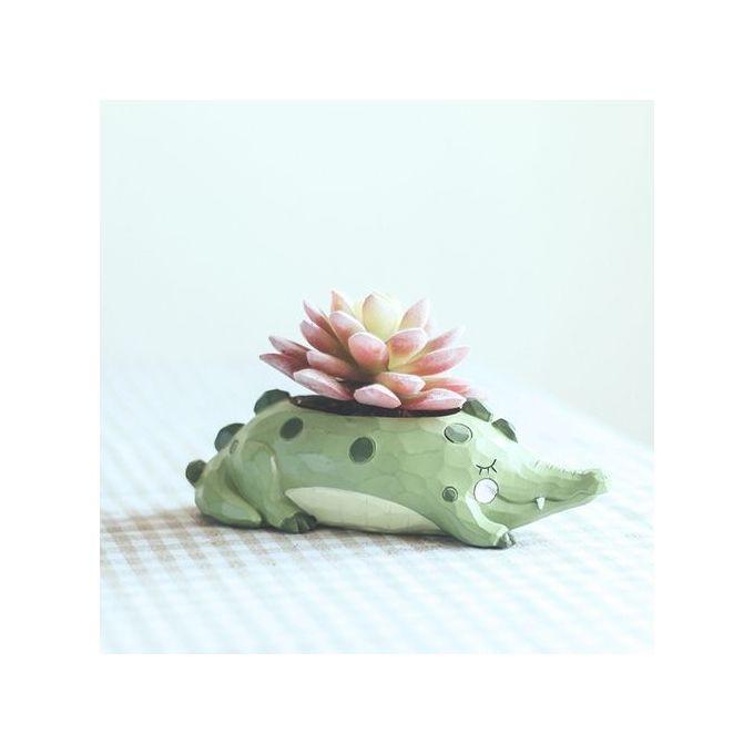 Cartoon Succulent Plant Vase Cute Animal Shaped Flowerpot As Office Desktop Decor Color:Crocodile Flower Pots –  مصر