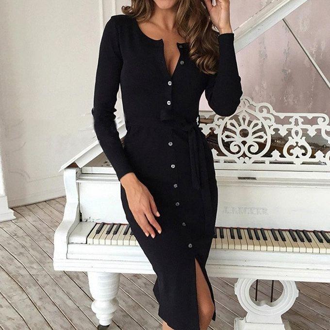 78a6ff097976 ZANZEA Elegant Women Midi Dress Long Sleeve V Neck Split Drawstring Belt  Casual Solid Bodycon Dress
