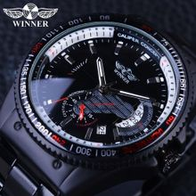 2410223873e1b Winner 2017 Racing Design Black Stainless Steel Calendar Display Mens  Watches Top Brand Luxury Mechanical Automatic