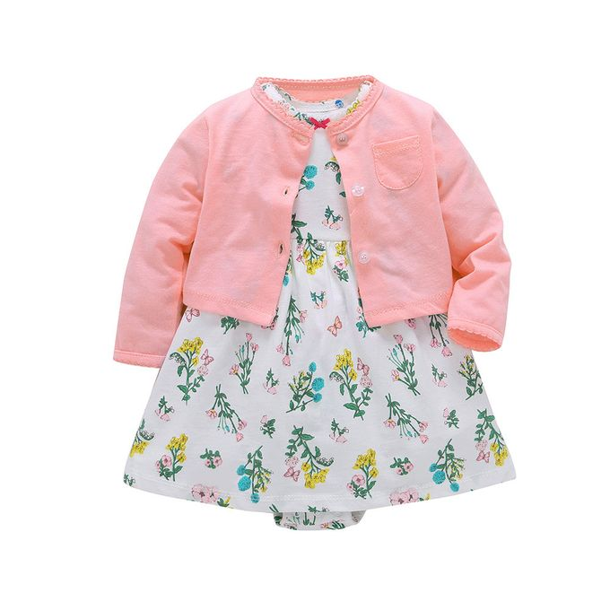 8aceb1687d8cb Quanxinhshang Newborn Infant Baby Girls Floral Dress+ Solid Coat Outfits  Clothes Dress Set