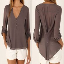 9b107b7b9cfb4 Casual Sexy Deep V Neck Chiffon Button Detail Long Sleeve Blouse With Back  Button - Brown