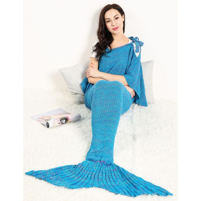 Adult Handmade Knitted Crochet Wearable Mermaid Tail Shape Blanket Sleeping Sofa Blanket 7 Colors –  مصر