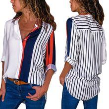 80e40a56301d2 Xiuxingzi Womens Casual Long Sleeve Color Block Stripe Button T Shirts Tops  Blouse