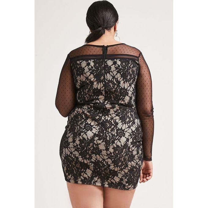 Plus Size Lace-Up Bodycon Dress
