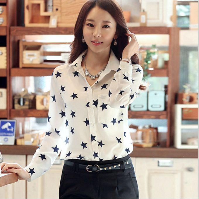 235c779eb Fashion Women's Chiffon Blouse Print OL Formal Shirt Long Sleeve Tops  Loose-bodied Turn Down