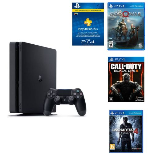 Playstation 4 Slim - 500 Gb + God Of War + Call Of Duty 3 + Uncharted 4 + 3  Month UAE Card