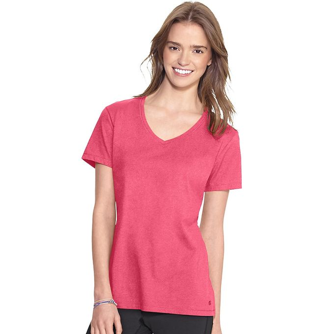 Champion Authentic Womens Jersey V-Neck Tee, Black - S