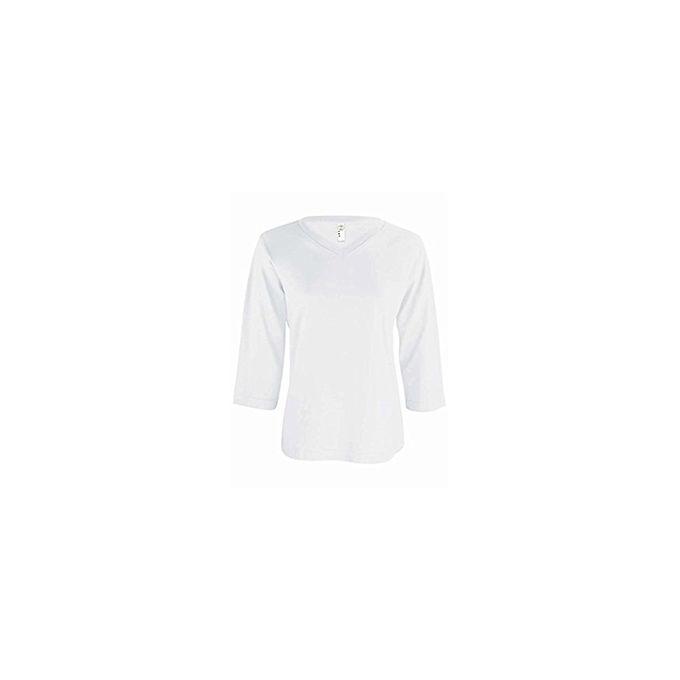 Sportswear Womens Ringspun V-Neck 3/4 Sleeve T-Shirt [White, X-Large]