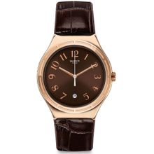 7a9169112ba9a Swatch Harmonieuse YWG406 Rose-gold Leather Quartz Fashion Watch for men