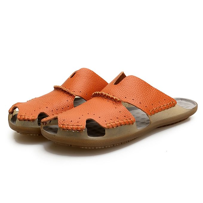 10465e30b31 Mens Casual Leather Beach Sandals Flat Slippers Non-Slip Closed Toe Outdoor Summer  Shoes
