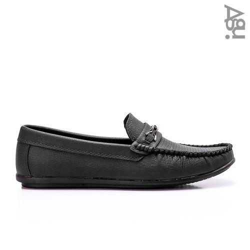حذاء جلد كاجوال سهل الارتداء - اسود