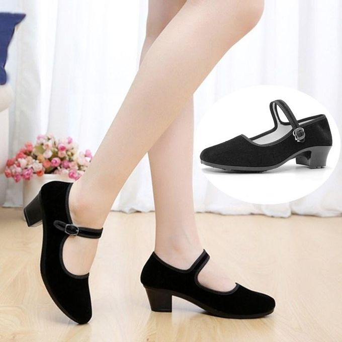 897e54545e5 New Womens Ladies Black Mid Block Heel Mary Jane Office Work Formal Strap Shoes  BLACK