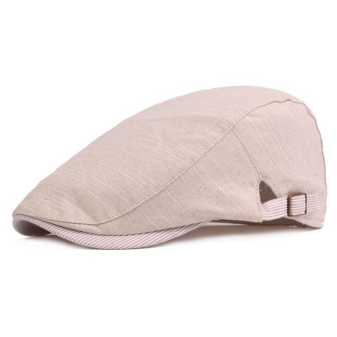 6f488be34efa9 Men Cotton Beret Hat Buckle Adjustable Paper Boy Newsboy Cabbie Golf  Gentleman Cap
