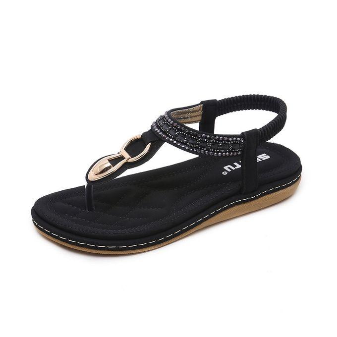 18de88288 Hot Super Large Size Leather Women Sandals Bohemian Diamond Slippers Woman  Flats Flip Flops Shoes Summer