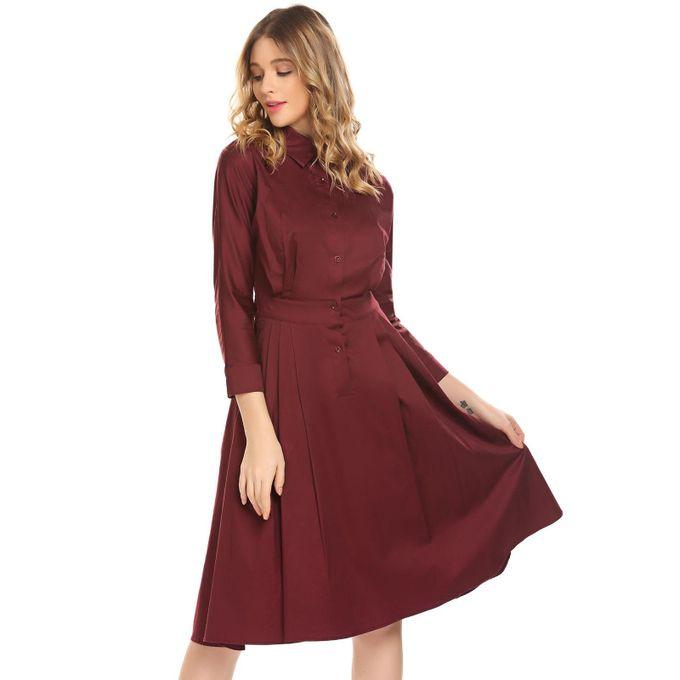7d2bbe051499c ... المرأة القميص الياقة كم طويل ارتفاع الخصر أ-- خط القميص اللباس-النبيذ  الأحمر ...