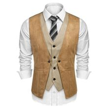 d686a903e Men V Neck Sleeveless Contrast Color Double Breasted Back Strap Vest-Array