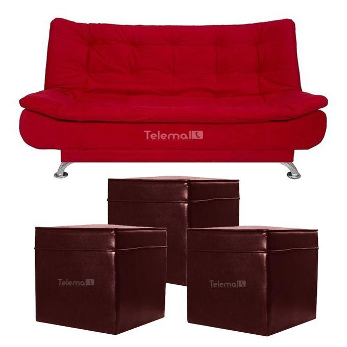 كنبه سرير – أحمر + ٣ بوف جلد – نبيتي –  مصر