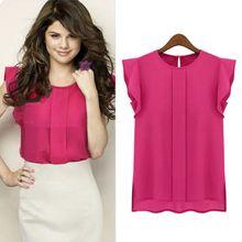 6223eb113b757 Hiamok Womens Casual Loose Chiffon Short Tulip Sleeve Blouse Shirt Tops HP L