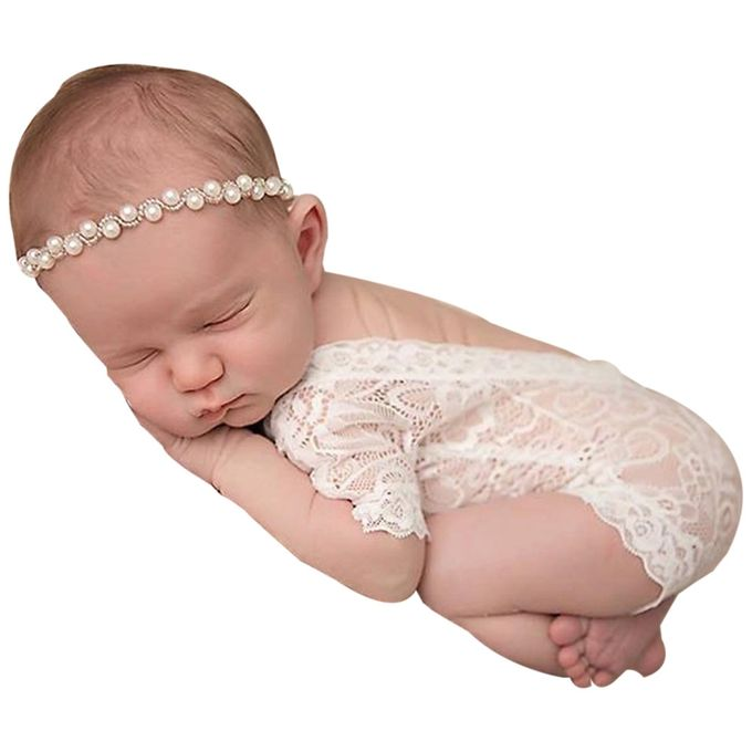 51f455a39 Newborn Infant Baby Girl Photography Prop Lace Romper Jumpsuit Princess  Clothes For Baby