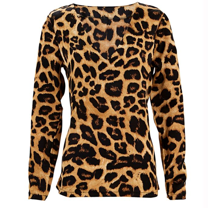66f5e4094f3b ... Hiamok Womens V Neck Leopard Print T-shirts Casual Loose Tops Tunic  Blouse ...