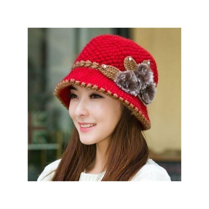 4fd1ed0e0ce Women Winter Warm Beret Braided Knit Crochet Baggy Beanie Flower Hat Ski  Cap Red