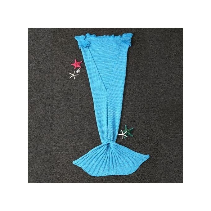 Mermaid Knitted Blanket And Throws For Kids – Light Blue –  مصر