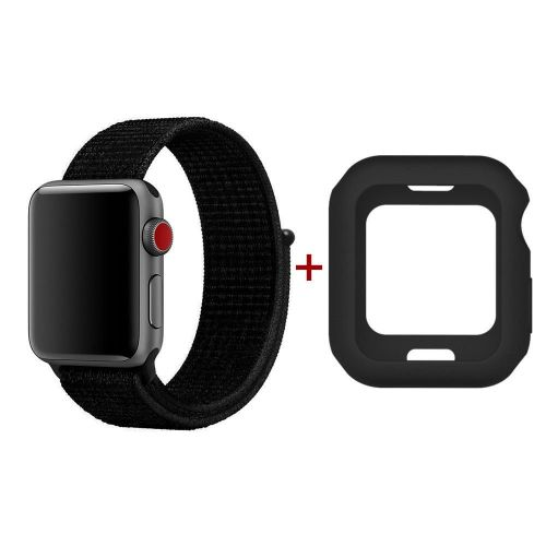 newest 3bf7d 9767e Replacement Apple Watch Woven Band With Silicone Case For 42mm - Black