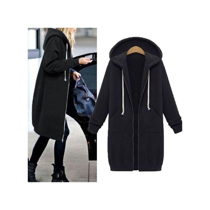 3f3b09fe14c53 ZANZEA Winter Coats Jacket Women Long Hooded Sweatshirts Coat Casual Zipper  Outerwear Hoodies Plus Size Black