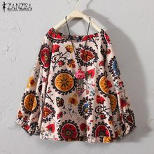 05ba81d3b33 ZANZEA Women Casual Plus Size Retro Boho Top Tee T Shirt Printed Floral  Peasant Blouse