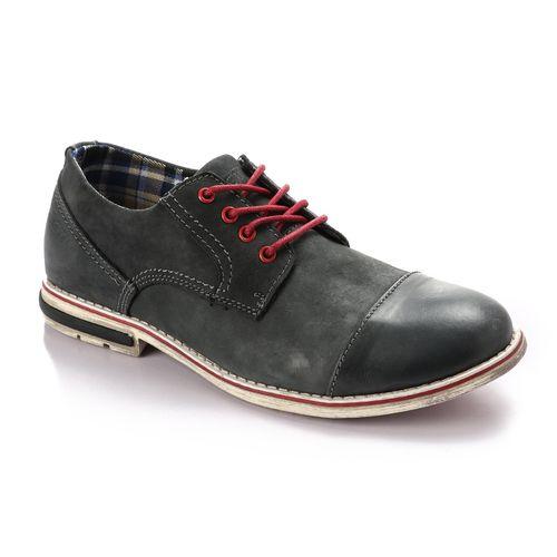 Lace Up Leather Casual Unique Shoes - Navy Blue