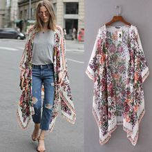 824aa05534bac Hiamok Women Floral Print Chiffon Loose Shawl Kimono Cardigan Top Cover up  Shirt Blouse