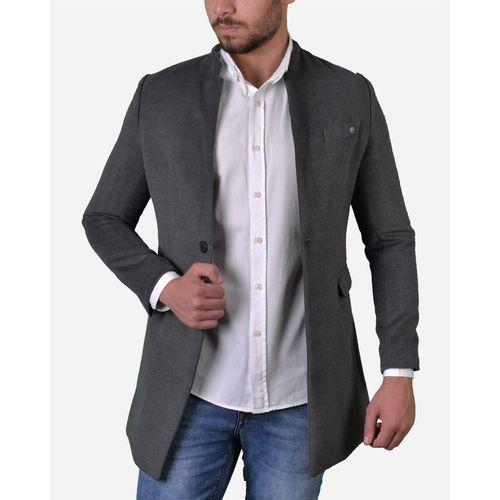 Long Coat Thai Neck - Dark Grey
