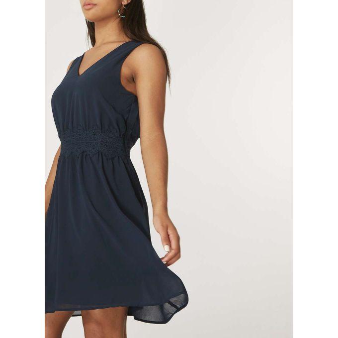 **Vila Navy Milina V-Neck Skater Dress