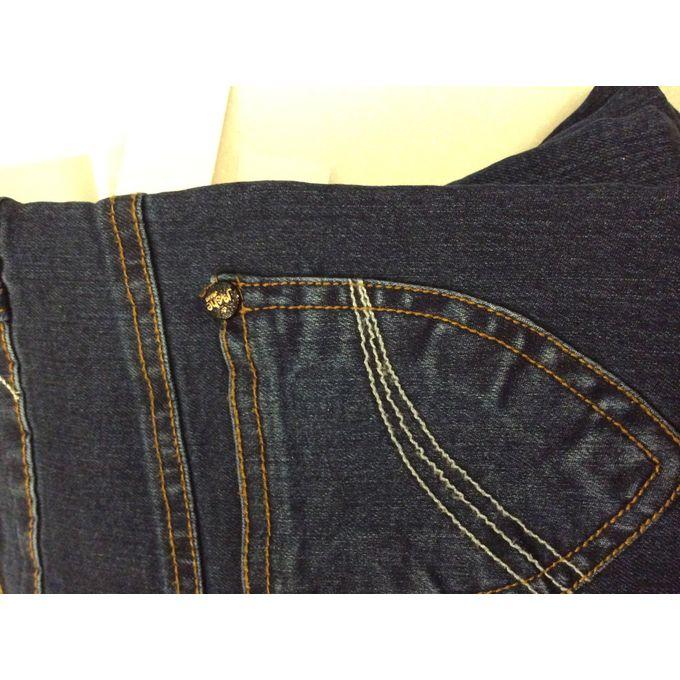 42ae394d67eb6 جينز بنات ليكرا لون  ازرق - وسط مرن قابل للتعديل سن  من ٩ شهور حتى ٥ ...