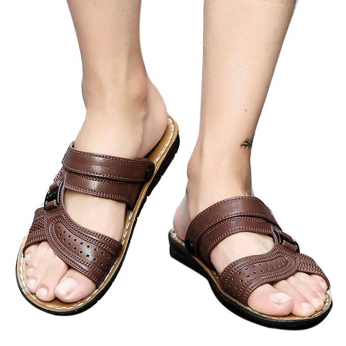 01d6aa1db Tectores Men Slippers Beach Shoes Men Flip Flops Summer Flat Heels Male  Slides Sandals