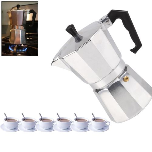 Italian Espresso Latte Cafetiere Coffee Maker - For 6 Cup - Silver